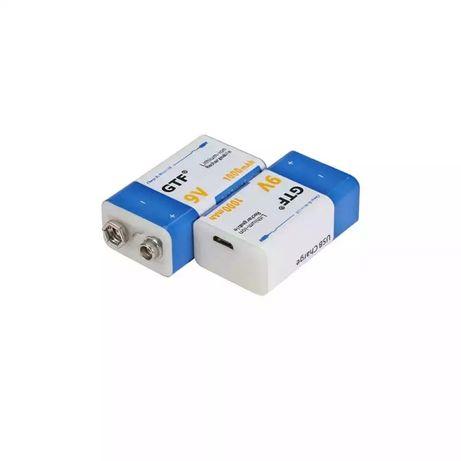 Аккумулятор Крона 9В 1000mAh GTF Li-Ion (6F22) зарядка micro-USB 1 шт