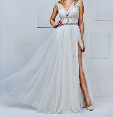 Suknia ślubna 36 ecru koronka boho Igar Hermiona