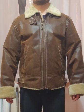 Мужская зимняя куртка из натуральной кожи rino & pelle (коричневая)