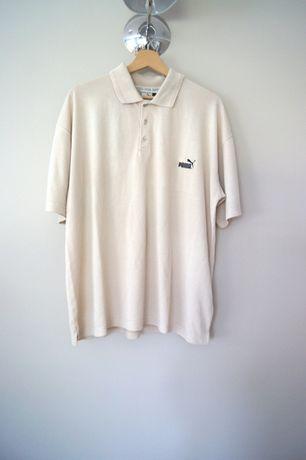 PUMA 38M 40L męska beżowa sportowa koszulka bluzka polo t-shirt beżowy
