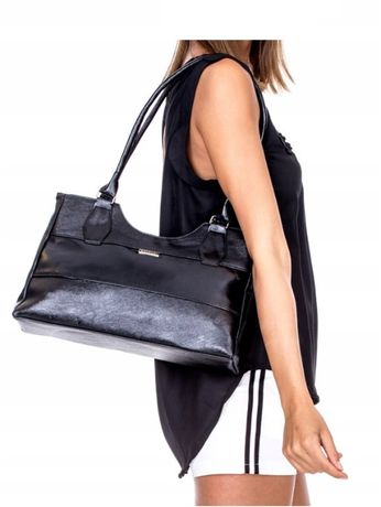 czarna torba na ramię, torebka damska