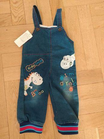 Spodnie jeans, ogrodniczki, NOWE, rozmiar 80/86