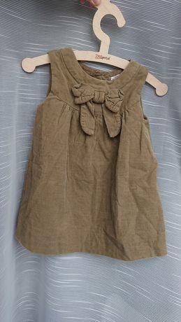 Zara 80 sukienka sztruksowa z kokarda oliwkowa