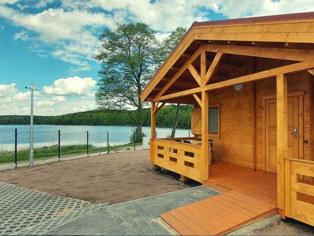 Domki nad jeziorem do wynajęcia 4-6 os., rowery, kajaki, sauna, banie