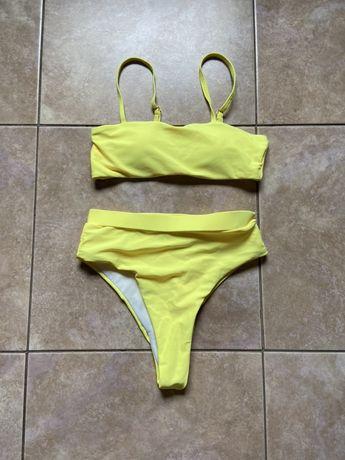 Купальник новый с завышеными плавками желтый яркий раздельный