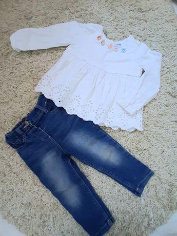 Комплект джинсы и рубашка с вышивкой 1-2 года