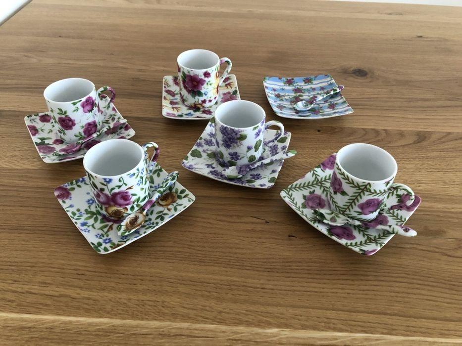 Piękny zestaw kawowy filiżanki do Espresso porcelana kwiaty floral Warszawa - image 1