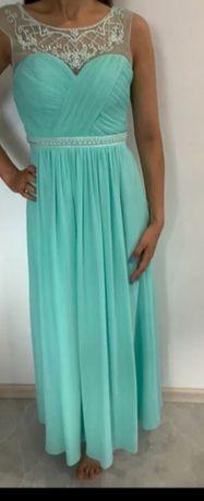 Śliczna turkusowa miętowa sukienka L