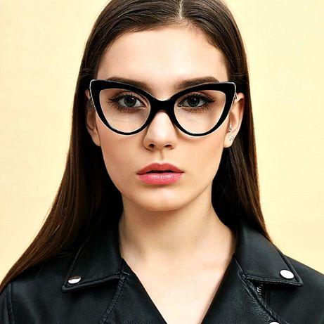 okulary zerówki czarne oprawki kocie oczy retro