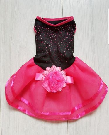 Nowa czarno różowa sukienka dla psa, rozmiar S
