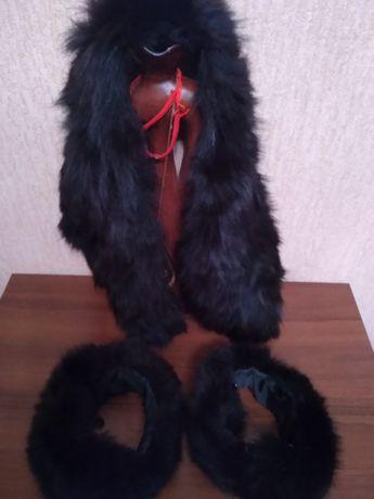 Мех натуральний чорного кольору на куртку,або пальто