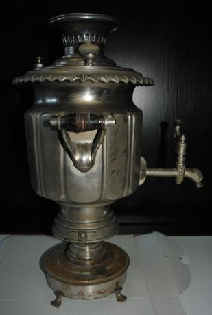 Самовар антикварний комбінований дрова -гас в рідному нікелі .