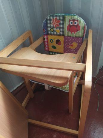 Деревянный стульчик для кормления, 2в1.