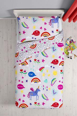 Next piękna pościel dziecięca rainbow tęcza jednorożec serca 120x150