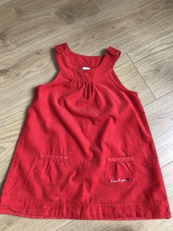 Sukienka czerwona sztruksowa 80 cm