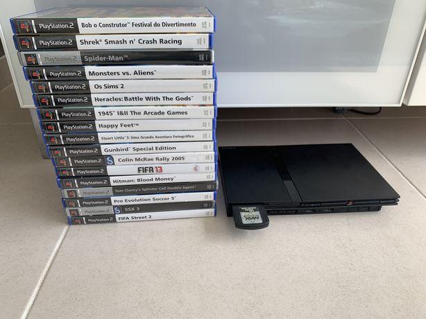 PS2 com 2 comandos e 17 jogos