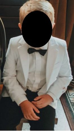 Garnitur chłopięcy biały (marynarka + spodnie)