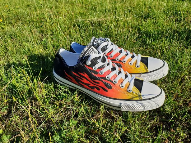 Converse black & orange ox flames trainers