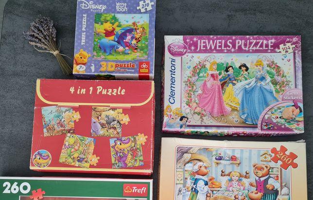 ZESTAW x3 Puzzle dla dzieci różne wielkości od 64 do 210 elementów