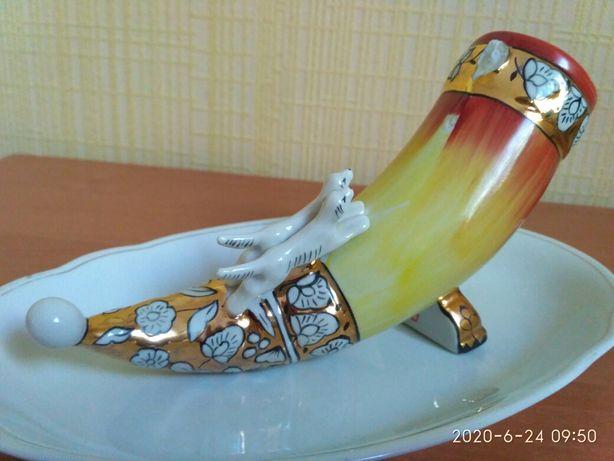 Статуэтка фарфор коллекции хобби рог Охота статуеткa антиквариат