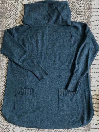 Sweter z szerszym golfem wełna kaszmir