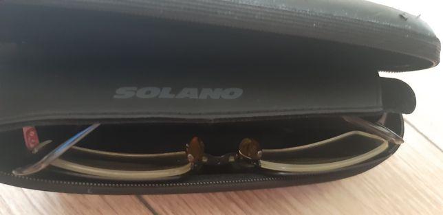 Okulary oprawki niemieckiej firmy Solano + nakładka przeciwsłoneczna