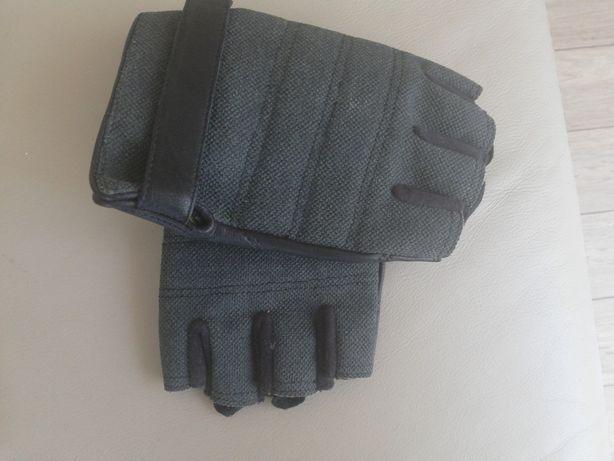 Rękawice TAKTYCZNE- skóra bez palców ochrona kostek