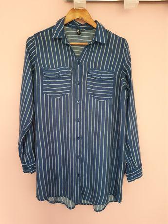 koszula długa szmizjerka tunika granatowa paski s m hm 36 38 H&M