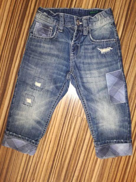 Spodnie chlopiece benetton 92 jak nowe kratka