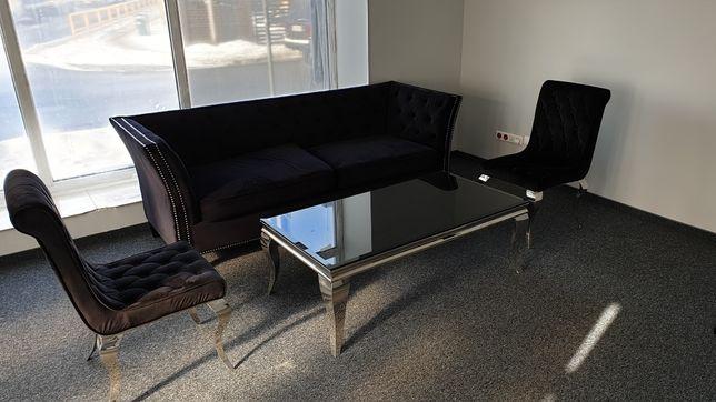 Zestaw Mebli Glamour Kanapa +Ława +2 +3 krzesła
