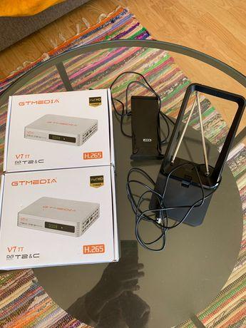 Conjunto de antena TV com receptor TDT GTmedia