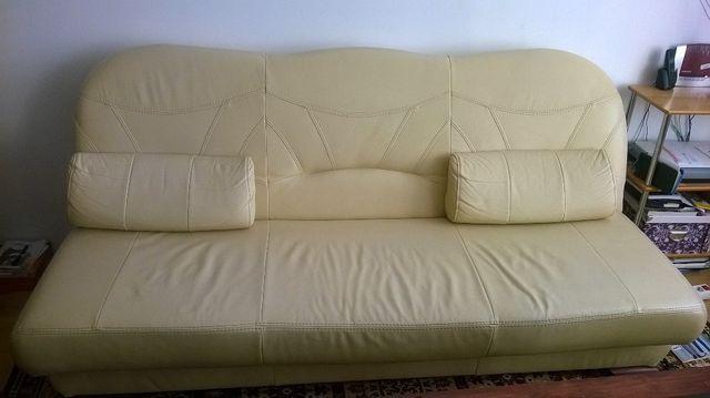Wypoczynek skórzany, sofa plus dwa fotele.