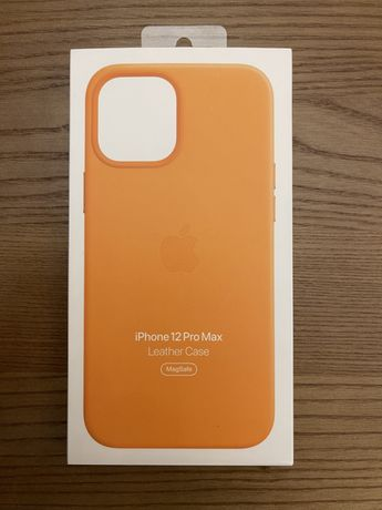 Кожаный чехол Iphone 12 Pro Max желтого цвета