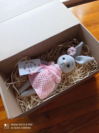 Зайчик, handmade, вязаная игрушка