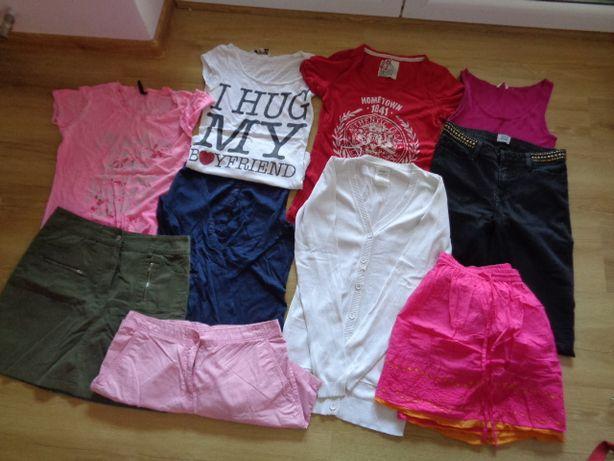 Zestaw ciuszków r.S -M-spodnie rurki,sweterek,spódnice,bluzki,spodenki