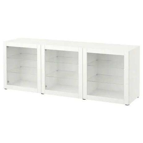 Aparador IKEA gama Besta em branco com portas transparentes