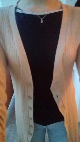 Wiosenny długi beżowy sweterek H&M rozmiar L zapinany