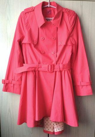Cienki różowy płaszcz trencz George must have neon wiosna