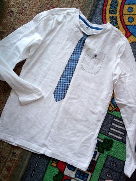 Bluzeczka elegancka z nadrukiem krawatem 134/140