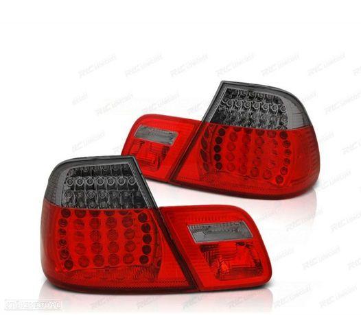 FARÓIS TRASEIROS LED DINÂMICO BMW E46 COUPÊ 99-03 RED SMOKED (VERMELHO FUMADO / ESCURECIDO)