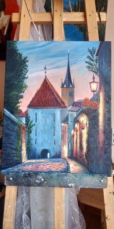 "Картина маслом. Холст на подрамнике. ""Старый Таллин"" размер 40х50"