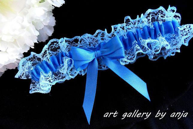 Niebieska podwiązka ślubna ślub koronkowa