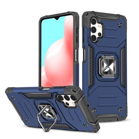 Capa Rígida/Semi Rígida Traseira Wozinsky Ring Case Kickstand Tough Rugged Cover Samsung Galaxy A32 4G Azul