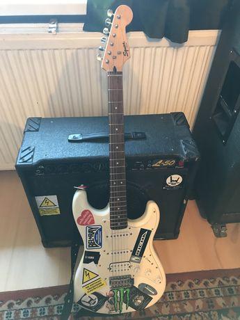 Gitara Fender Squier i wzmacniacz Roland cube 15 - dla początkujących