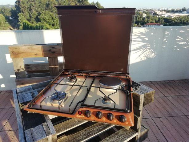 Placa fogão de gaz com disco eléctrico