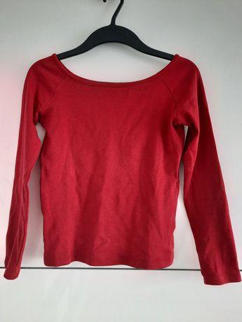Bluzka czerwona z dligim rękawkiem łódka sinsay rozmiar xs/s