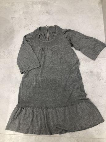 Sukienka z dzianiny, szara, śliczna z rękawami 3/4, rozmiar M
