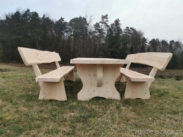 stół ogrodowy i dwie ławki