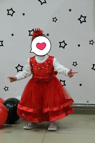 Пышное детское платье с повязкой корона