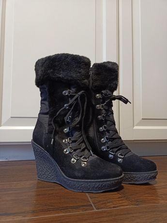Rozm. 37 NOWE zimowe czarne buty kozaki na koturnie wiązane z zamkiem